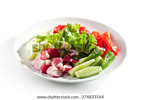 Fresh Vegetables Plate - stock photo