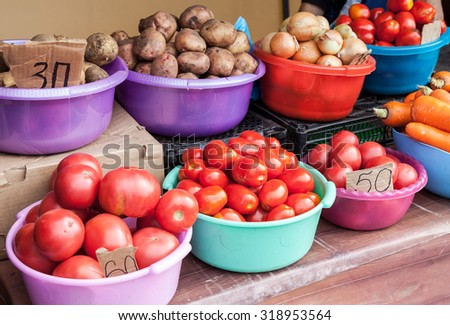 Fresh vegetables ready to sale at the farmers market - stock photo