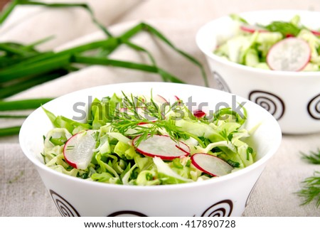 Fresh vegetables salad with cabbage, radishes. dill and greens - stock photo