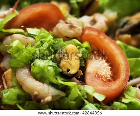 Fresh vegetables salad with shrimps on the black dish.