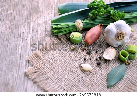 fresh vegetables, spices and aromatic herbs  - stock photo
