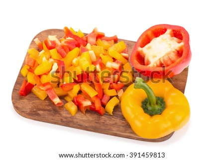 Fresh vegetables sweet Red, Yellow, Peppers isolated on white background.