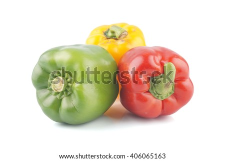 Fresh vegetables Three sweet Red, Yellow, Green Peppers isolated on white background.