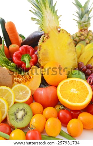 Fresh vegetables with fruits  - stock photo