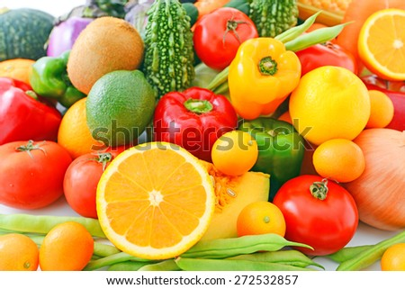 Fresh vegetables with fruits