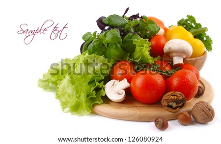 fresh vegetables with green leaves isolated on white background - stock photo