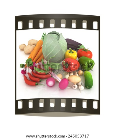 fresh vegetables with green leaves on a white background. The film strip