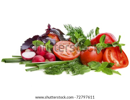 Fresh Vegetables with Herbs Isolated over white background - stock photo