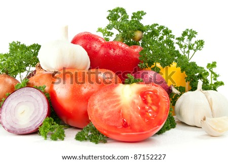 fresh vegetables with leaves, isolated on white background