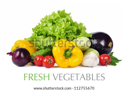 fresh vegetables with leaves isolated on white background. Clipping path included. - stock photo