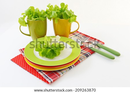 Fresh vegetables with tableware - stock photo