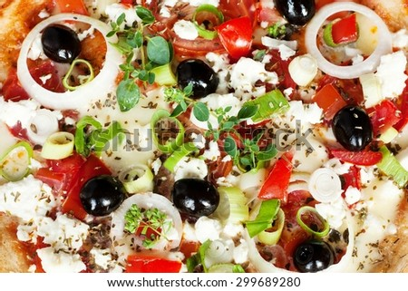 Fresh Vegetarian Greek Style Pizza Background - stock photo