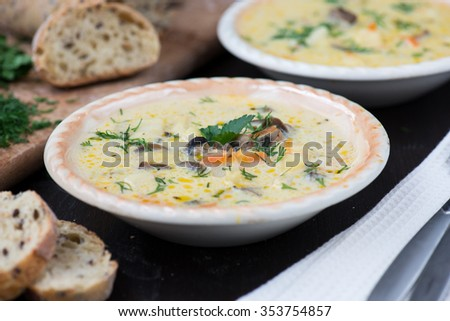 fresh vegetarian mushroom cream soup