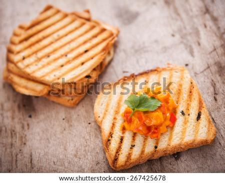 Fresh vegetarian toast for breakfast - stock photo