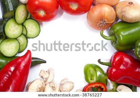 Fresh veggies around the frame with empty space of white background in the middle for text - stock photo