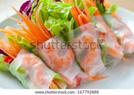 Fresh Vietnamese style spring rolls - stock photo