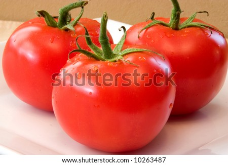 Fresh Vine Ripened Tomatoes on a white plate. Red Tomatoes hand picked for the grocery market These will add fresh ingredients to your vegetable list
