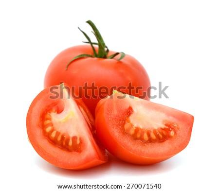 fresh vine tomato vegetable isolated on white  - stock photo