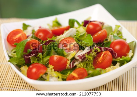 Fresh vitamin salad with tomatoes, spinach,arugula, and lettuce - stock photo