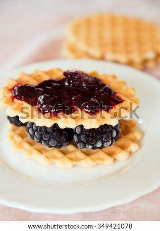 Fresh waffle with blackberries and jam on a white plate