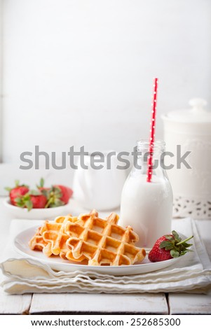 Fresh waffles with a bottle of milk  om a white background. Breakfast table. - stock photo