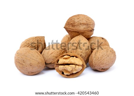 Fresh walnut with a shell isolated on white background