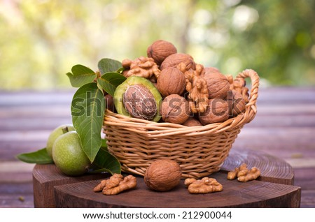 Fresh walnuts in the basket - stock photo