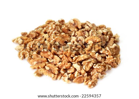 Fresh Walnuts on bright background