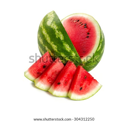 fresh water melon isolated on white - stock photo