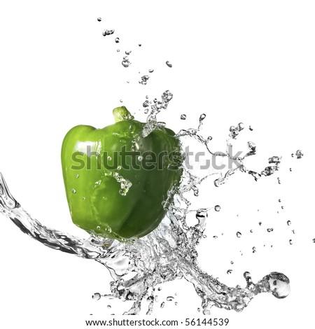 fresh water splash on green sweet pepper isolated on white - stock photo