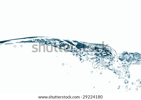 fresh water with bubbles on white background
