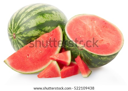 Fresh watermelon group isolated on white, clipping path included