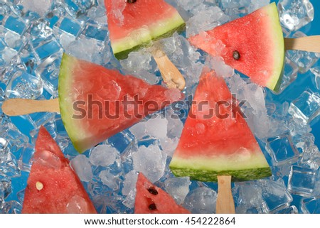 Fresh Watermelon slices on ice
