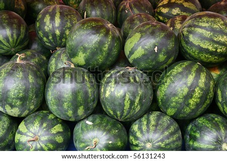fresh watermelons at the market in Turkey - stock photo