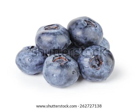 fresh wet blueberries isolated - stock photo