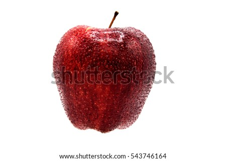 Fresh wet red apple with water drops isolated on white background