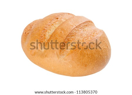 Fresh wheat homemade bread isolated on white background - stock photo