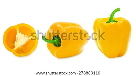 Fresh whole and slice yellow paprika isolated on a white background  - stock photo