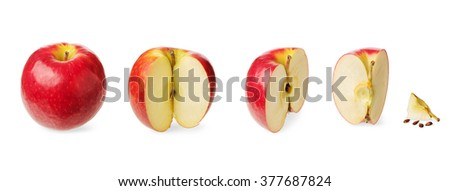 Fresh whole apple, cut in a half,three-quarter, quarter, up to zero isolated on white background Concept of the decreasing, reduction or subsidence and stages of a process - stock photo