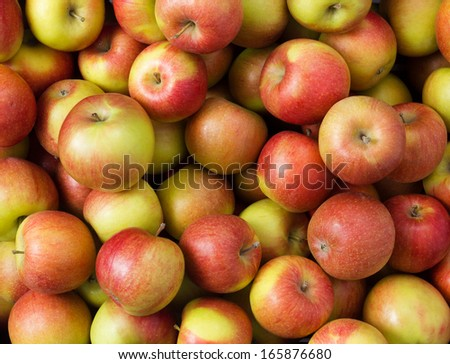 Fresh whole apples background - stock photo