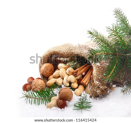 Fresh whole nuts and spices spilling out of a rustic hessian sack onto pristine fresh winter snow amidst decorative pine needles with copyspace for your seasonal greeting - stock photo