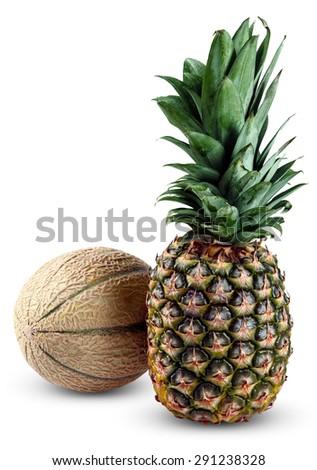 Fresh Whole Pineapple and Cantaloupe Melon isolated on white background. - stock photo