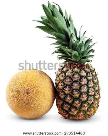 Fresh Whole PineApple and Galia Melon isolated on white background. - stock photo