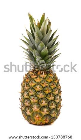 Fresh whole pineapple. Isolated on a white background. - stock photo