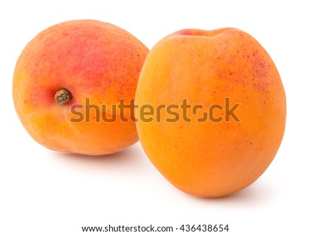 Fresh Yellow Apricot Isolated on White Background in Full Depth of Field with Clipping Path.