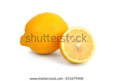 Fresh yellow lemon isolated on white - stock photo