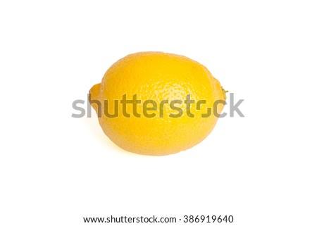Fresh Yellow Lemon on White Background. Lemon, yellow lemon, lemon. Lemon fruit - stock photo