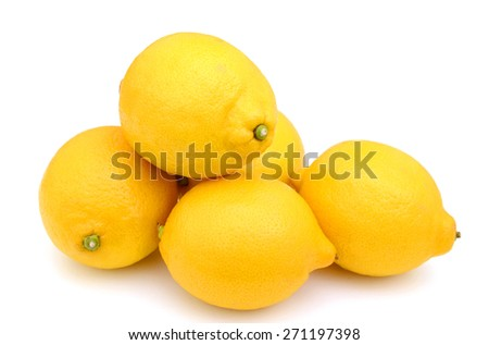 fresh yellow lemons isolated on white - stock photo