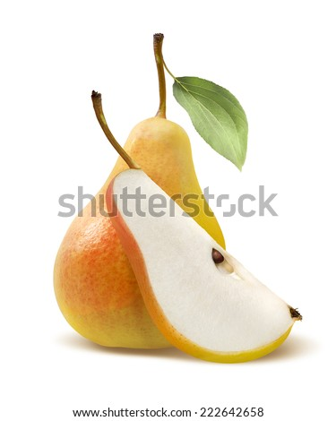 Fresh yellow pear and quarter isolated on white background as package design element - stock photo