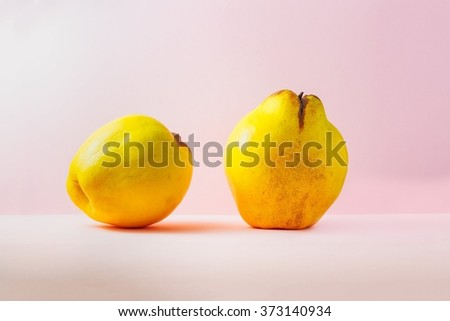 Fresh yellow quince over pink background - stock photo